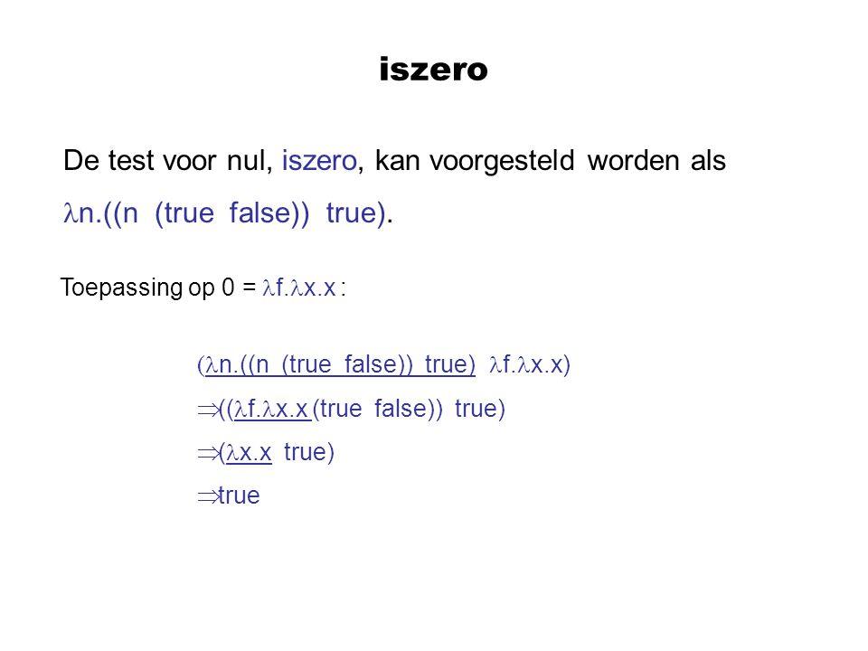 iszero De test voor nul, iszero, kan voorgesteld worden als