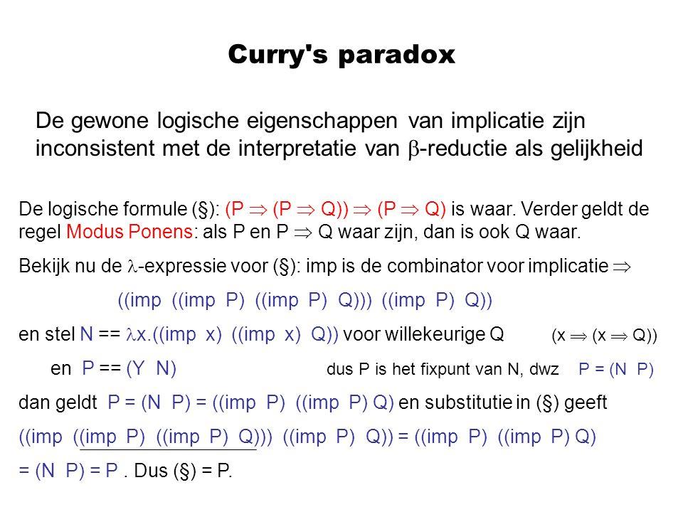 Curry s paradox De gewone logische eigenschappen van implicatie zijn inconsistent met de interpretatie van -reductie als gelijkheid.