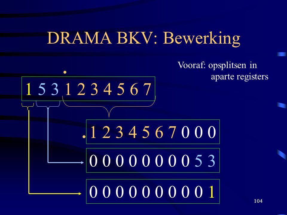 DRAMA BKV: Bewerking . Vooraf: opsplitsen in. aparte registers. 1 5 3 1 2 3 4 5 6 7. . 1 2 3 4 5 6 7 0 0 0.