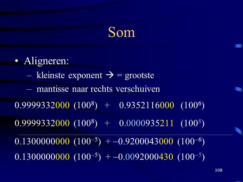 Som Aligneren: kleinste exponent  = grootste