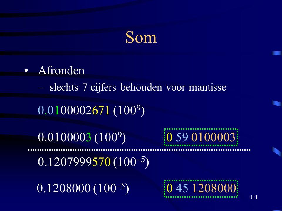 Som Afronden. slechts 7 cijfers behouden voor mantisse. 0.0100002671 (1009) 0.0100003 (1009) 0 59 0100003.