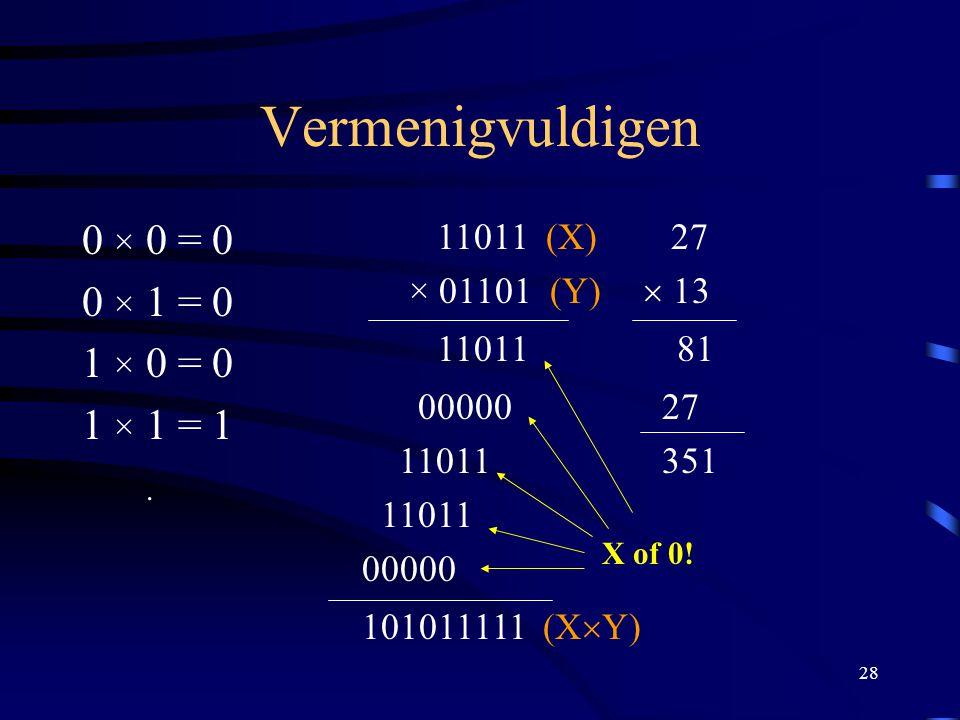 Vermenigvuldigen 0 × 0 = 0 0 × 1 = 0 1 × 0 = 0 1 × 1 = 1 .