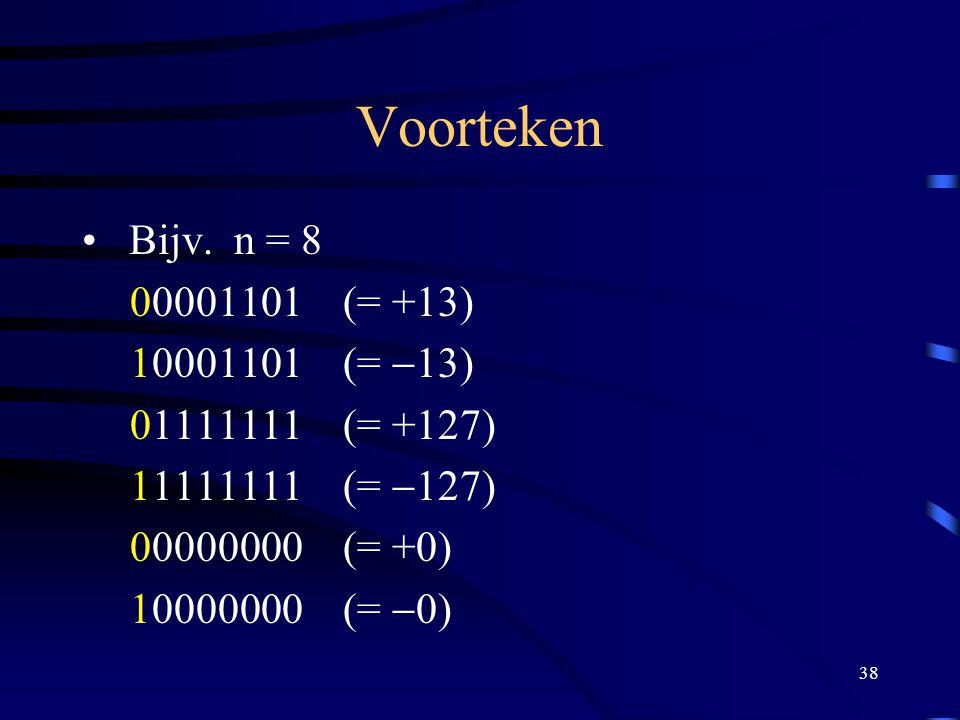 Voorteken Bijv. n = 8 00001101 (= +13) 10001101 (= -13)