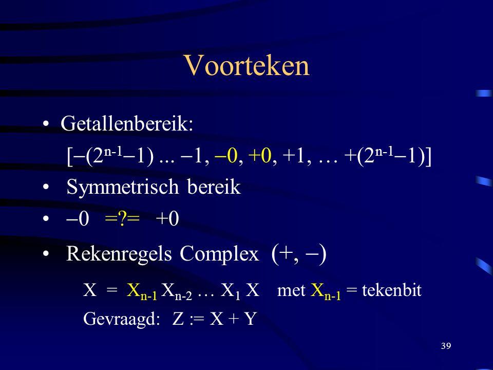 Voorteken X = Xn-1 Xn-2 … X1 X met Xn-1 = tekenbit Getallenbereik:
