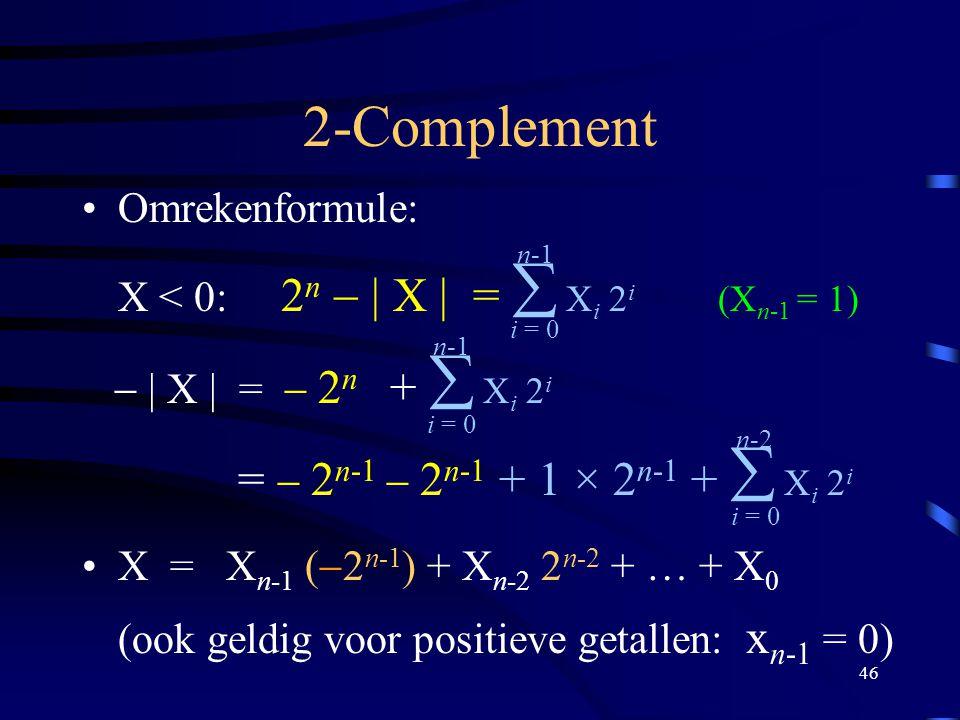 2-Complement = - 2n-1 - 2n-1 + 1 × 2n-1 +  Xi 2i Omrekenformule: