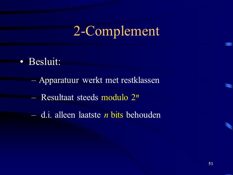 2-Complement Besluit: Apparatuur werkt met restklassen