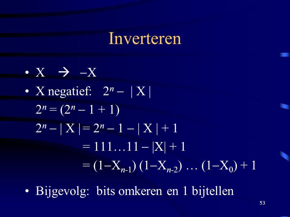 Inverteren X  -X X negatief: 2n - | X | 2n = (2n - 1 + 1)