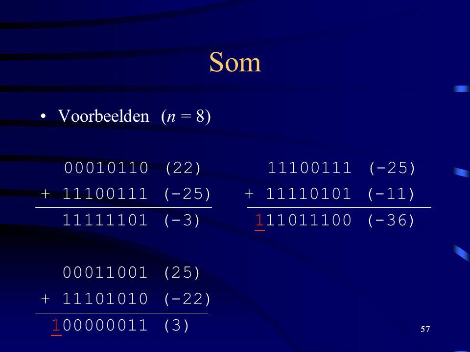 Som Voorbeelden (n = 8) 00010110 (22) + 11100111 (-25) 11111101 (-3)