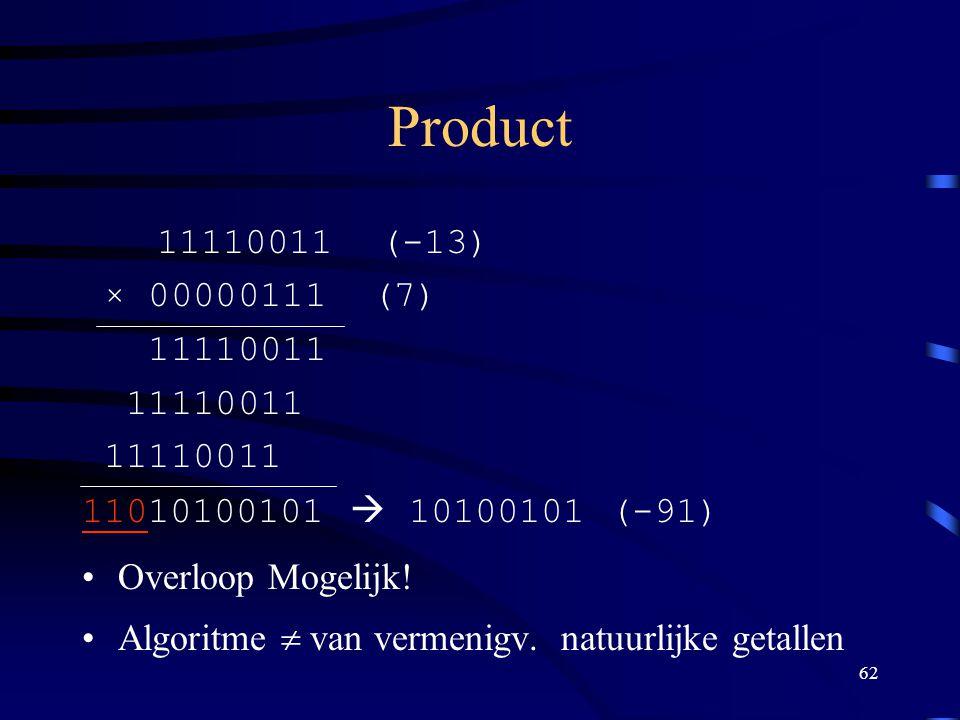 Product 11110011 (-13) × 00000111 (7) 11110011. 11010100101  10100101 (-91) Overloop Mogelijk!