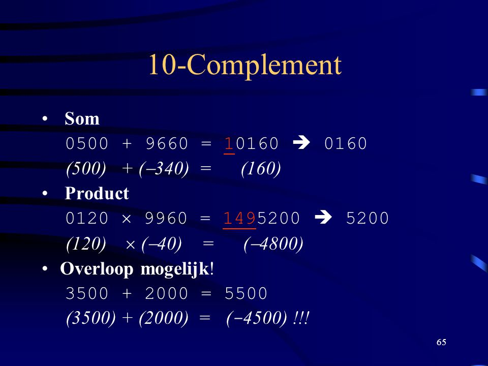 10-Complement Som 0500 + 9660 = 10160  0160 (500) + (-340) = (160)