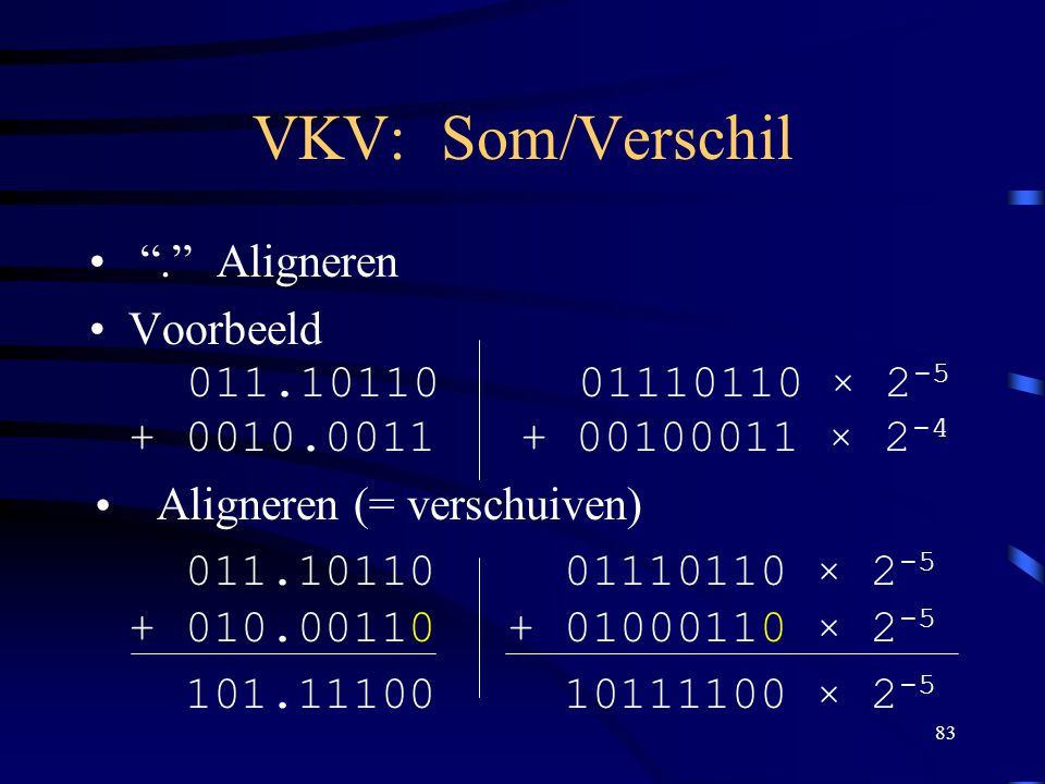 VKV: Som/Verschil . Aligneren