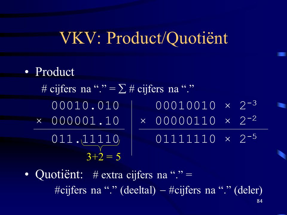 VKV: Product/Quotiënt