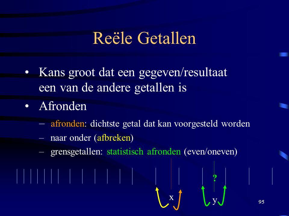Reële Getallen Kans groot dat een gegeven/resultaat een van de andere getallen is. Afronden. afronden: dichtste getal dat kan voorgesteld worden.