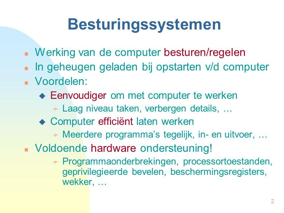 Besturingssystemen Werking van de computer besturen/regelen