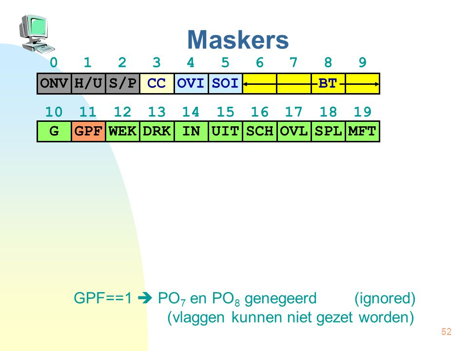 Maskers 0 1 2 3 4 5 6 7 8 9 H/U S/P CC ONV OVI SOI BT
