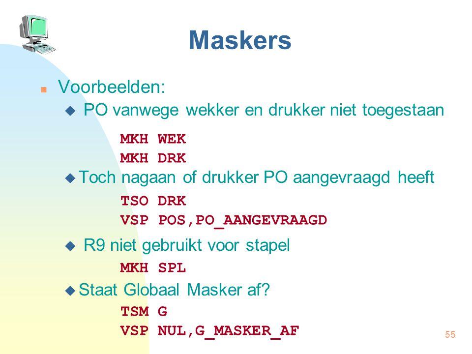 Maskers Voorbeelden: PO vanwege wekker en drukker niet toegestaan