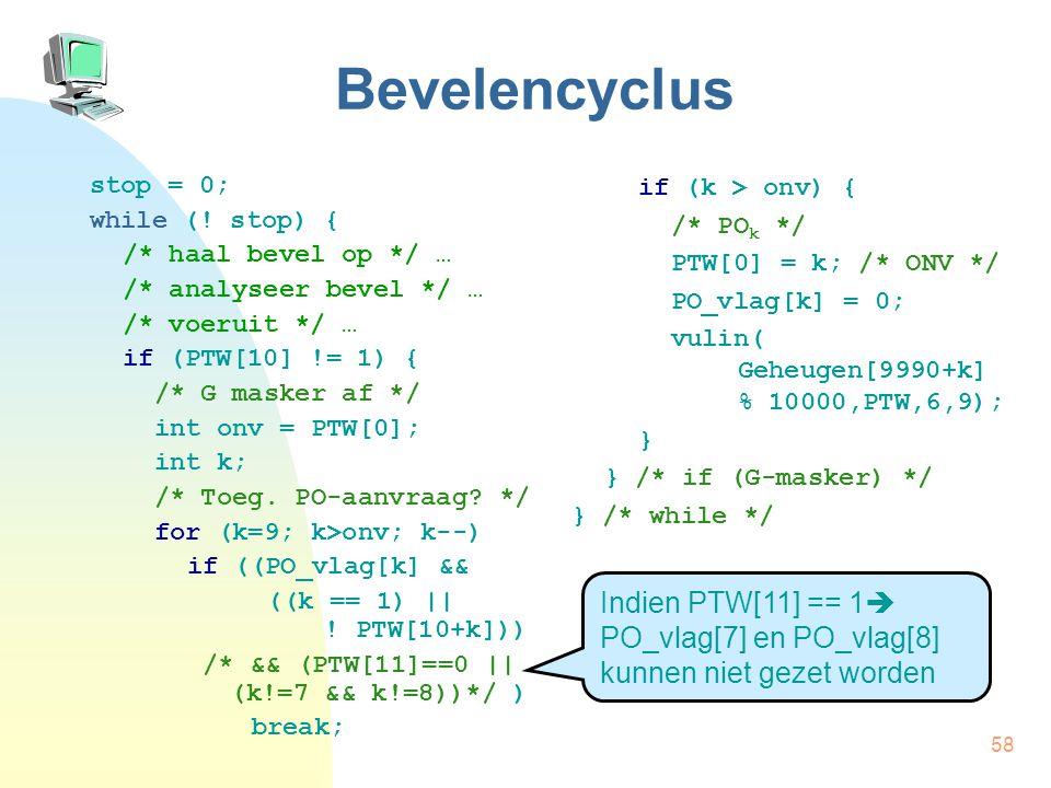 Bevelencyclus stop = 0; while (! stop) { /* haal bevel op */ … /* analyseer bevel */ … /* voeruit */ …