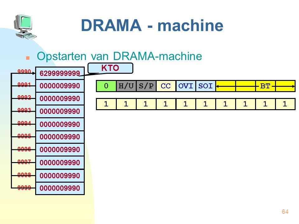 DRAMA - machine Opstarten van DRAMA-machine KTO H/U S/P CC OVI SOI BT