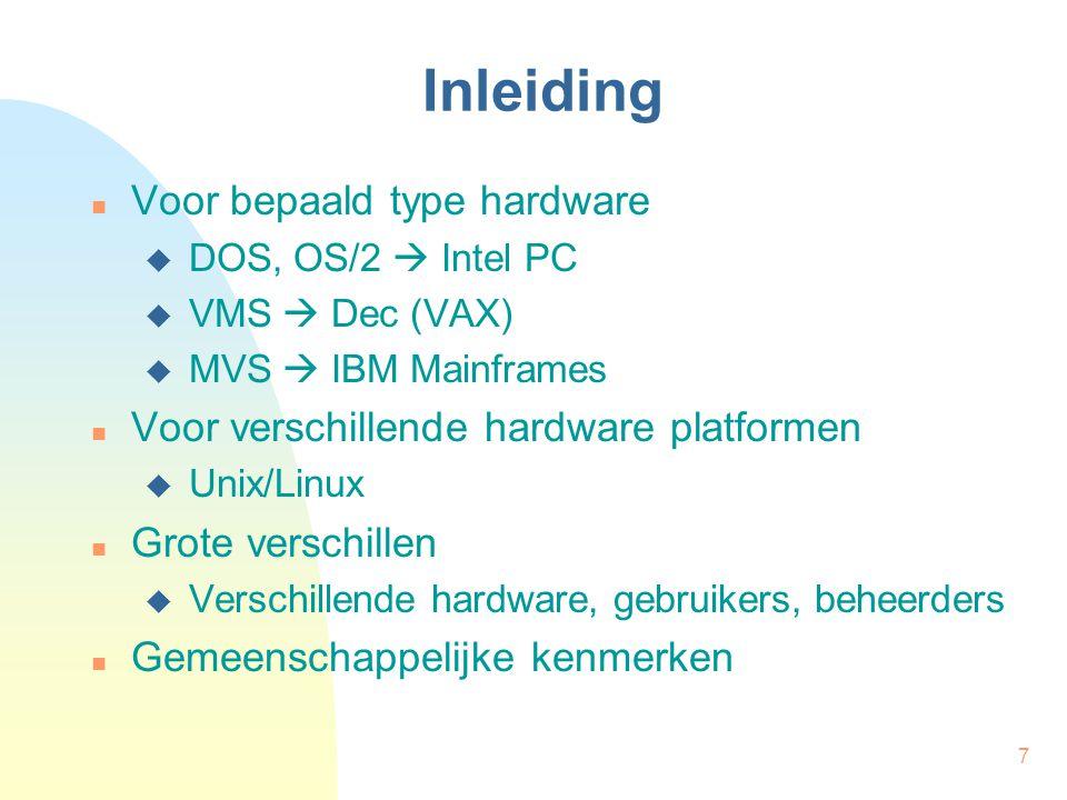 Inleiding Voor bepaald type hardware