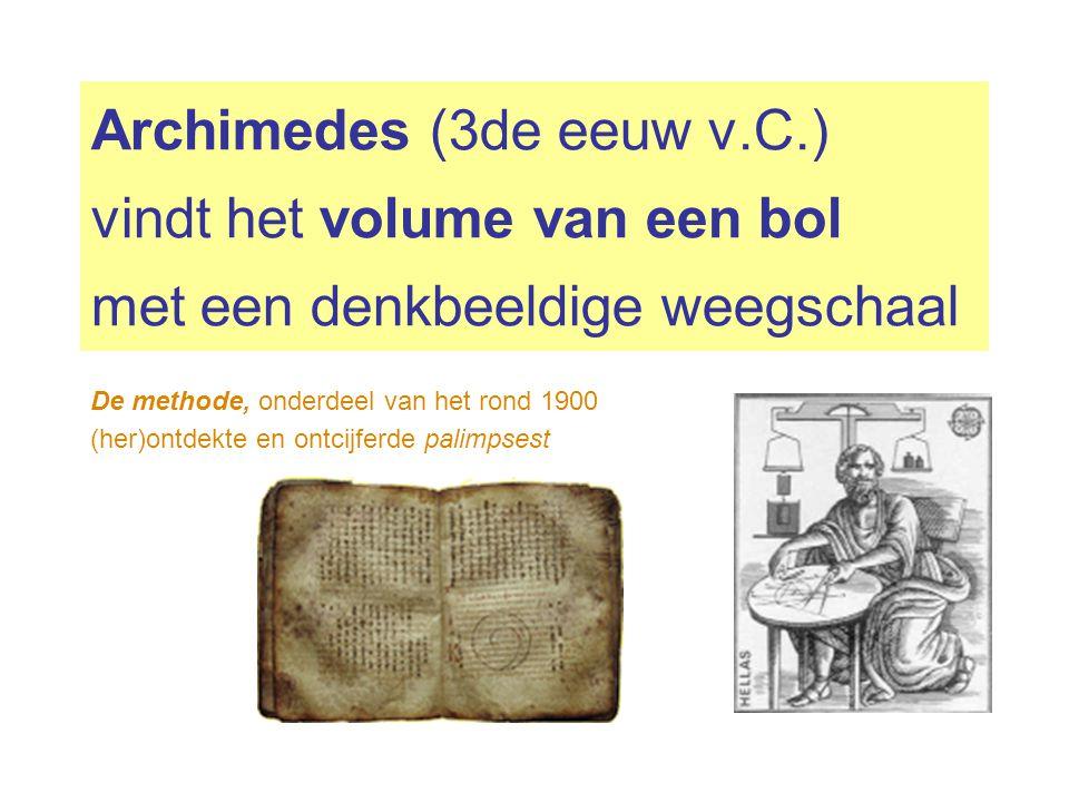 Archimedes (3de eeuw v.C.) vindt het volume van een bol met een denkbeeldige weegschaal