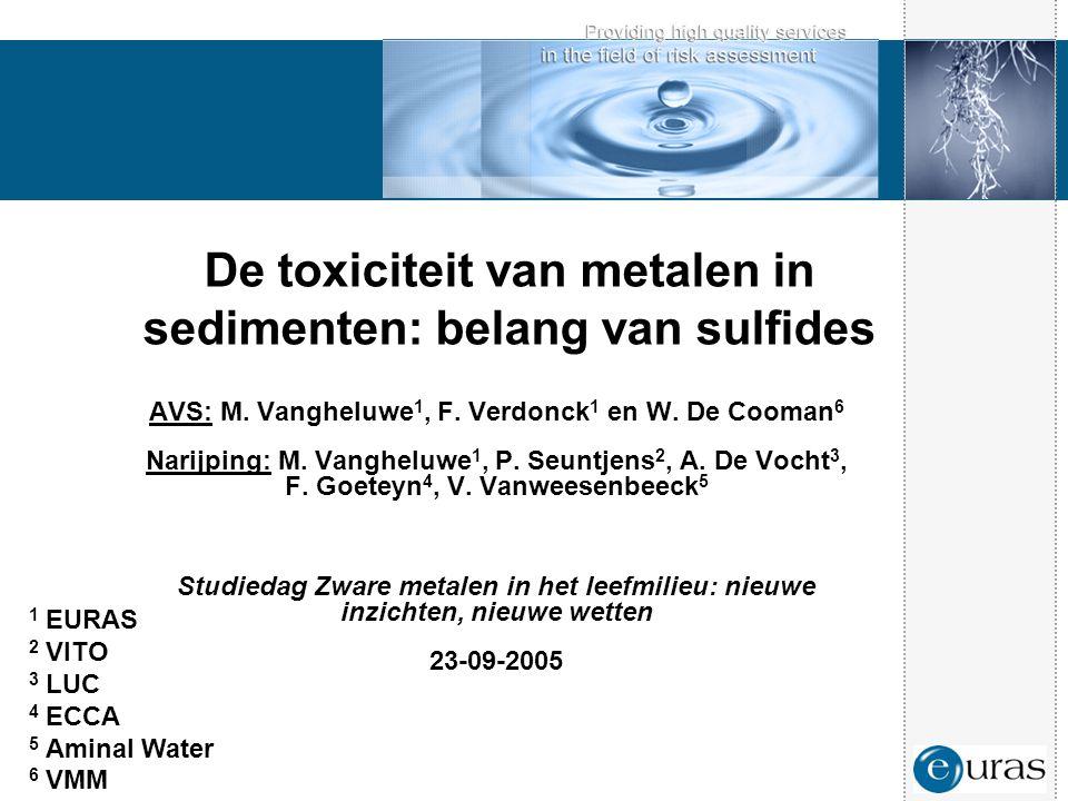 De toxiciteit van metalen in sedimenten: belang van sulfides