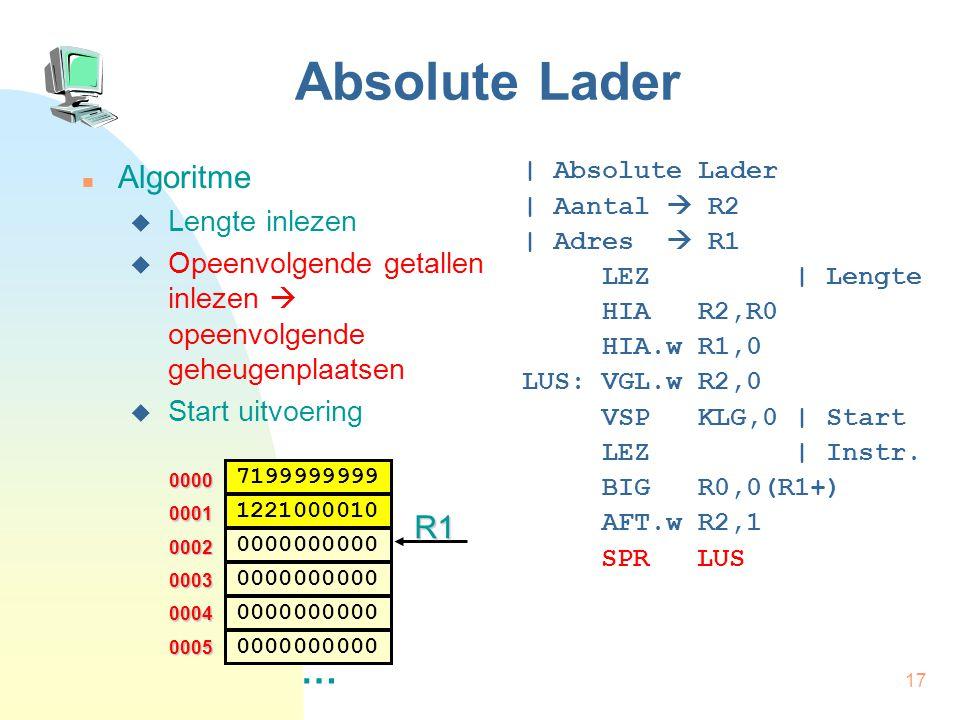 Absolute Lader … Algoritme R1 Lengte inlezen
