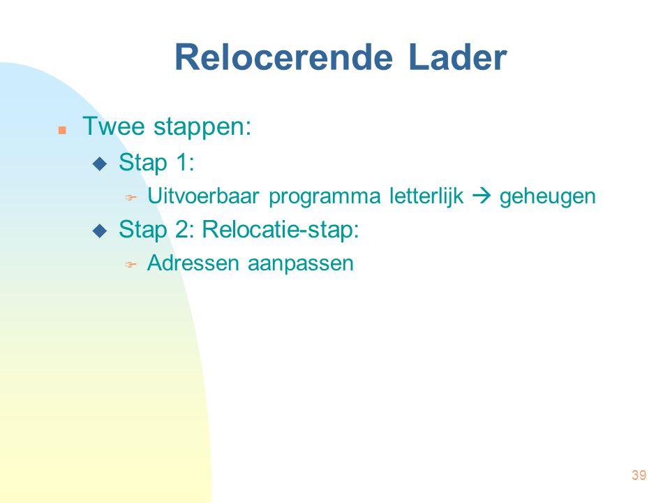 Relocerende Lader Twee stappen: Stap 1: Stap 2: Relocatie-stap: