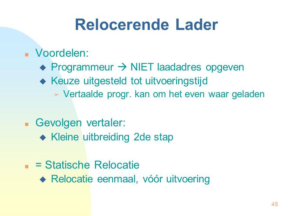 Relocerende Lader Voordelen: Gevolgen vertaler: = Statische Relocatie