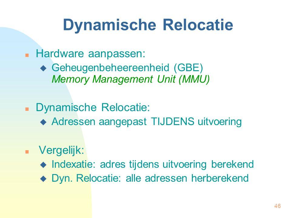 Dynamische Relocatie Hardware aanpassen: Dynamische Relocatie: