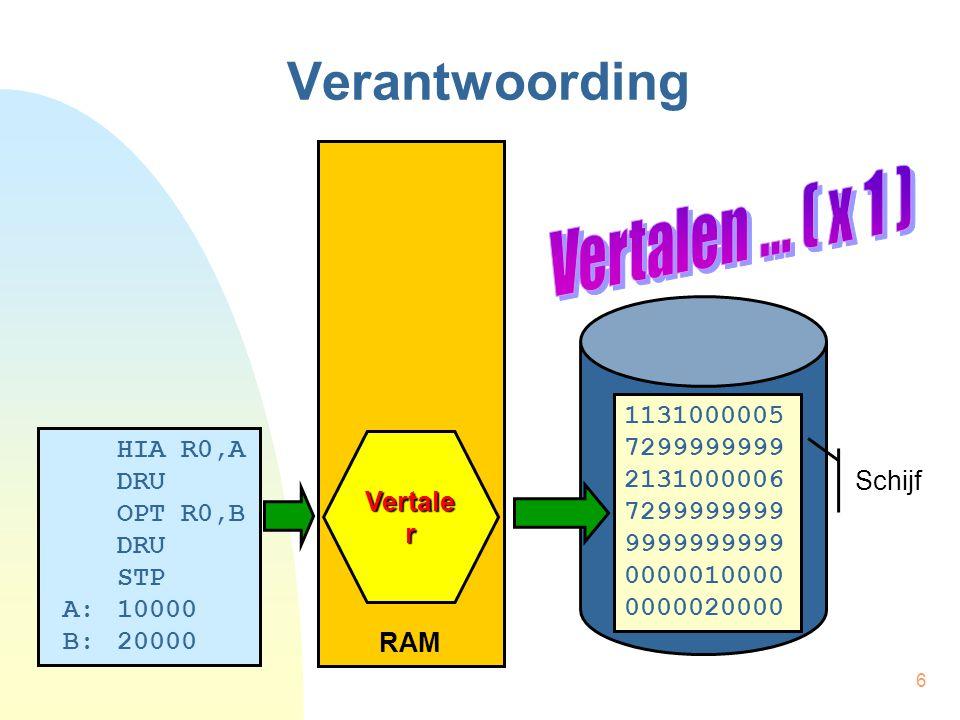 Verantwoording Vertalen ... ( x 1 ) RAM 1131000005 7299999999 HIA R0,A
