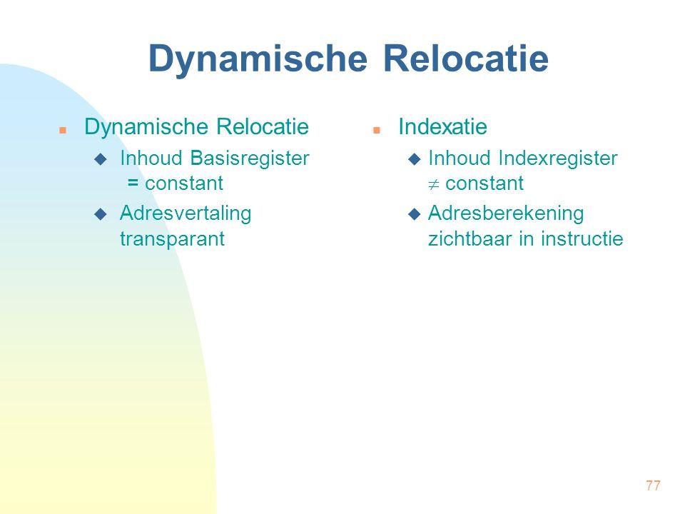Dynamische Relocatie Dynamische Relocatie Indexatie