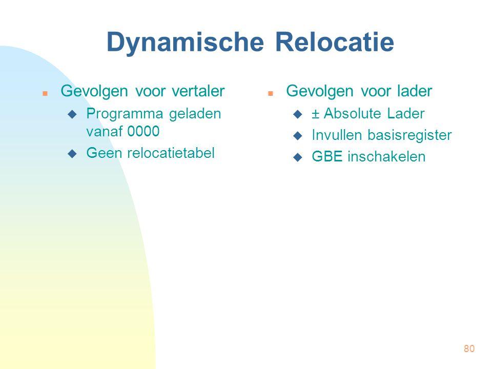 Dynamische Relocatie Gevolgen voor vertaler Gevolgen voor lader