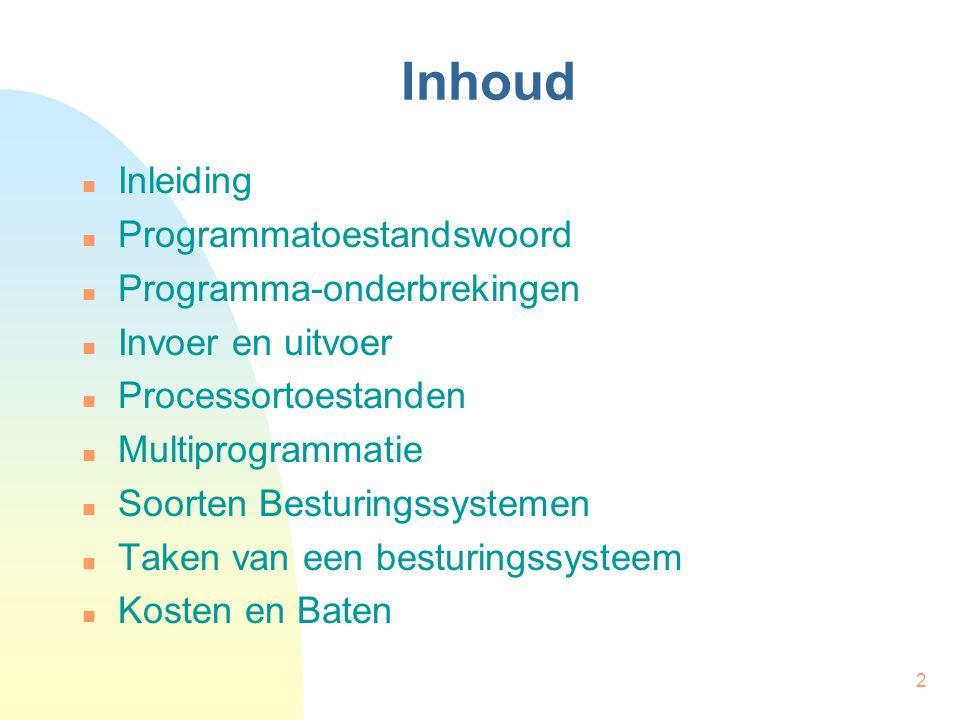 Inhoud Inleiding Programmatoestandswoord Programma-onderbrekingen