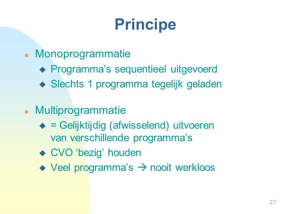 Principe Monoprogrammatie Multiprogrammatie