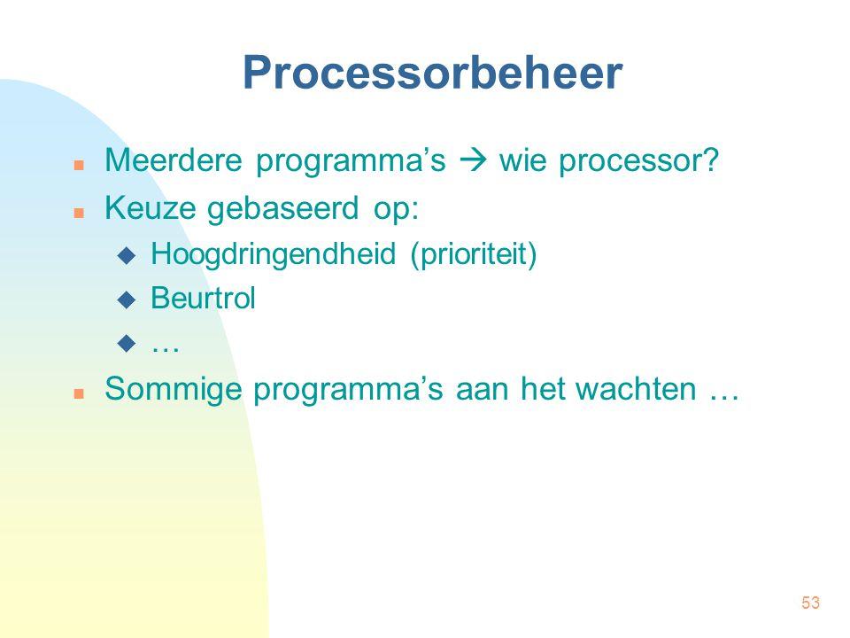 Processorbeheer Meerdere programma's  wie processor