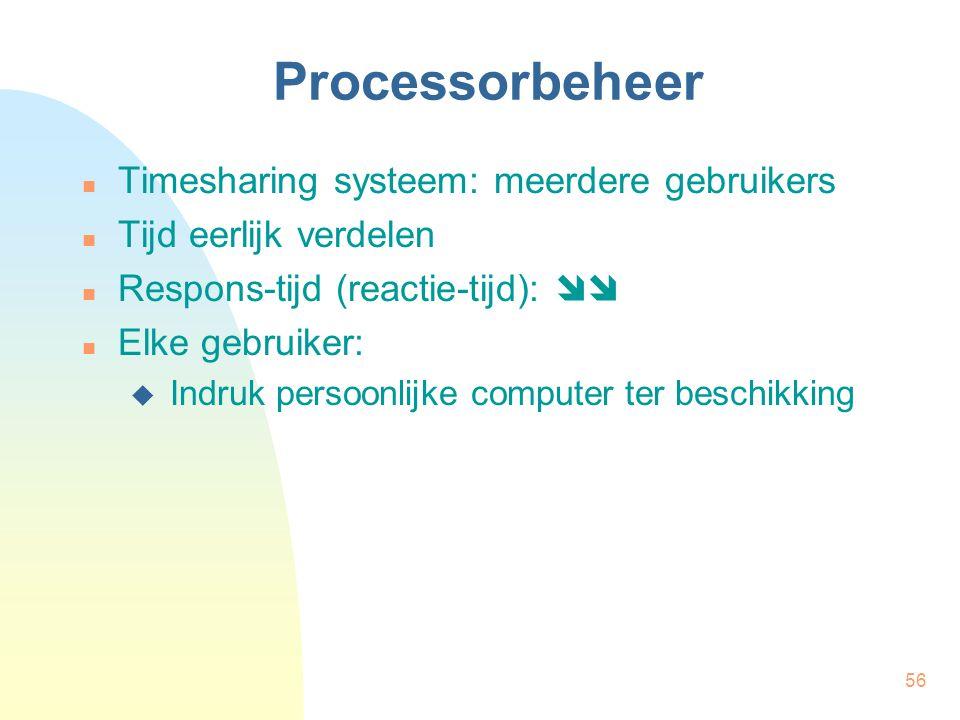 Processorbeheer Timesharing systeem: meerdere gebruikers