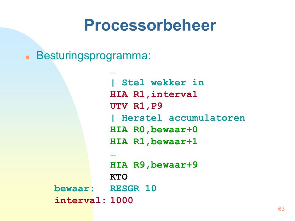 Processorbeheer Besturingsprogramma: …