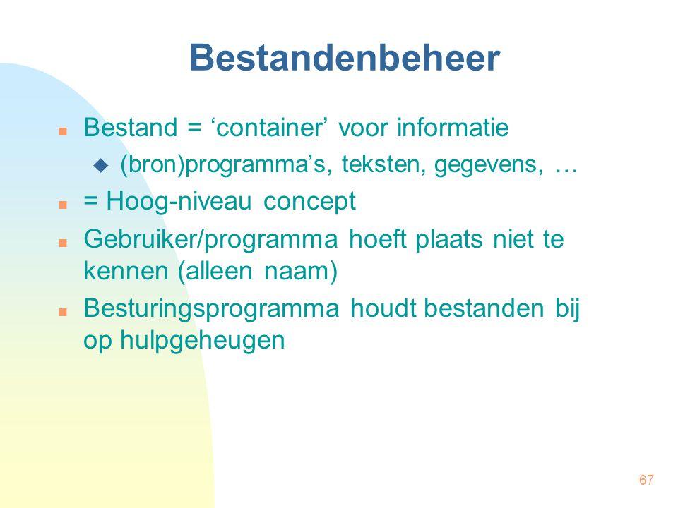Bestandenbeheer Bestand = 'container' voor informatie
