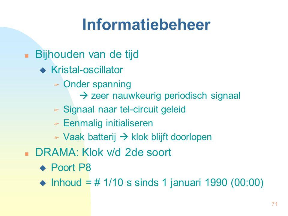 Informatiebeheer Bijhouden van de tijd DRAMA: Klok v/d 2de soort