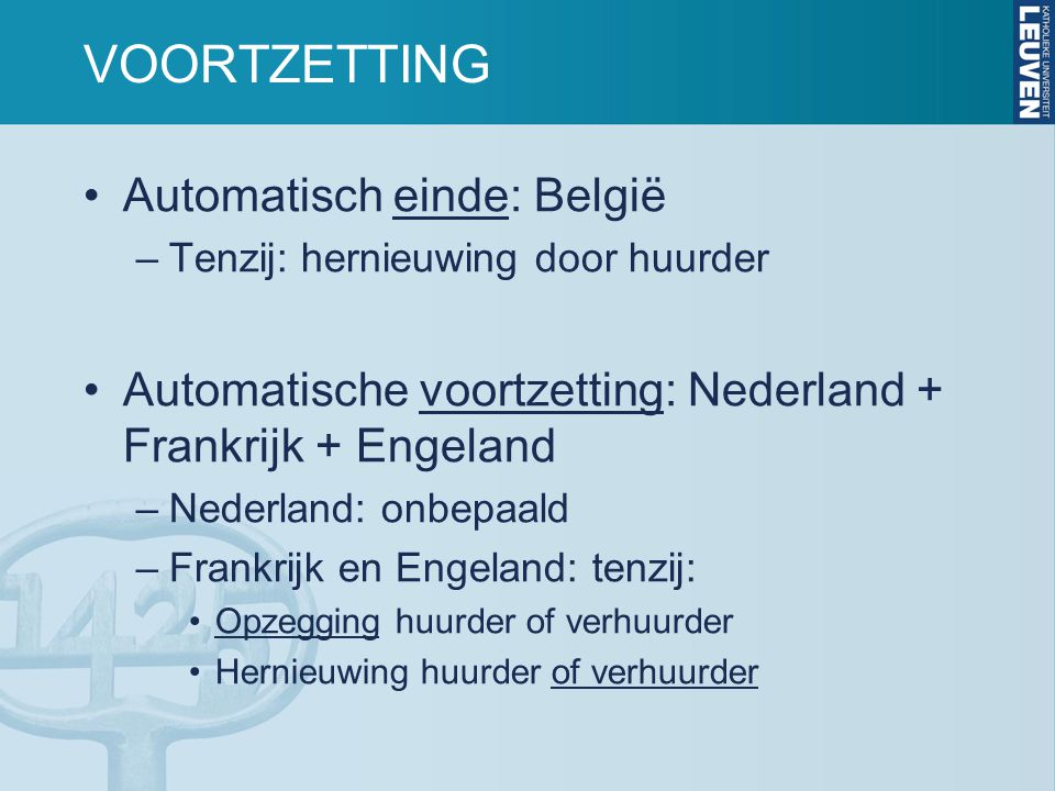 VOORTZETTING Automatisch einde: België