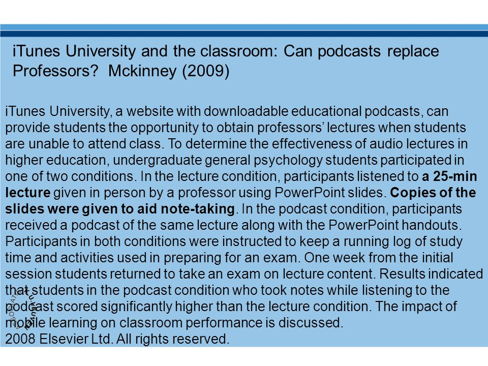 iTunes University and the classroom: Can podcasts replace Professors