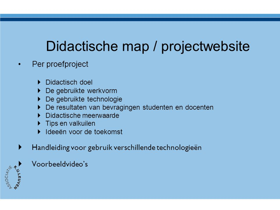 Didactische map / projectwebsite