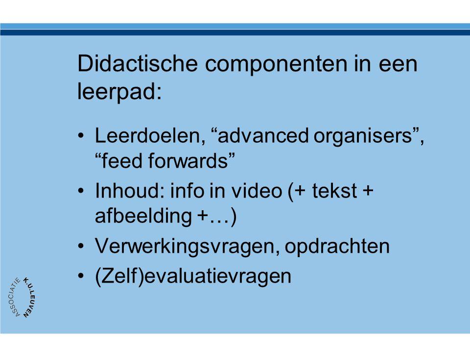 Didactische componenten in een leerpad: