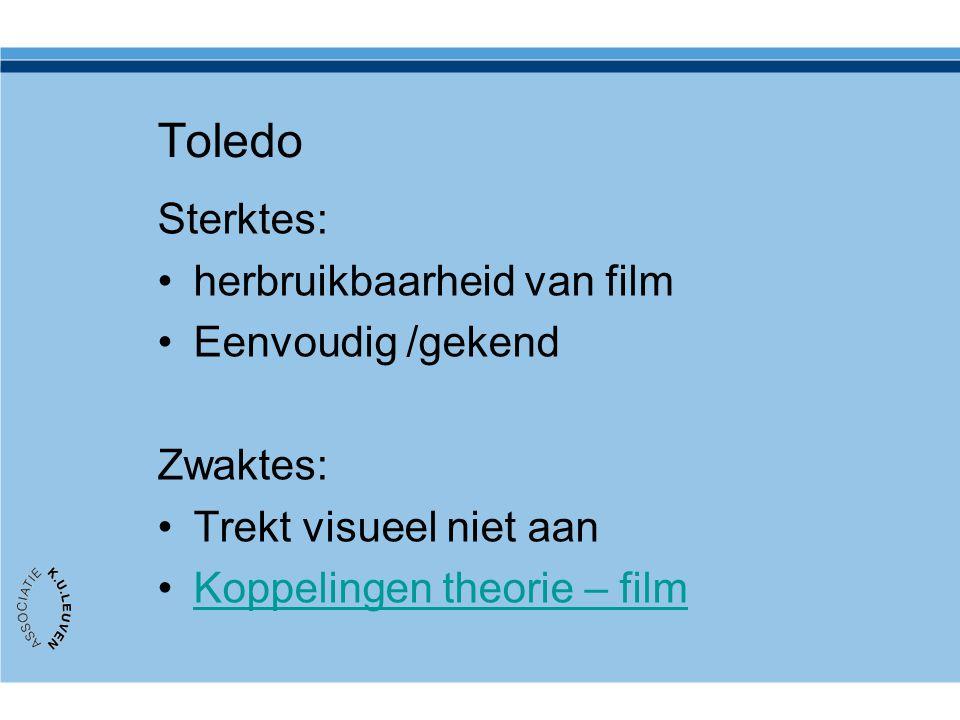 Toledo Sterktes: herbruikbaarheid van film Eenvoudig /gekend Zwaktes: