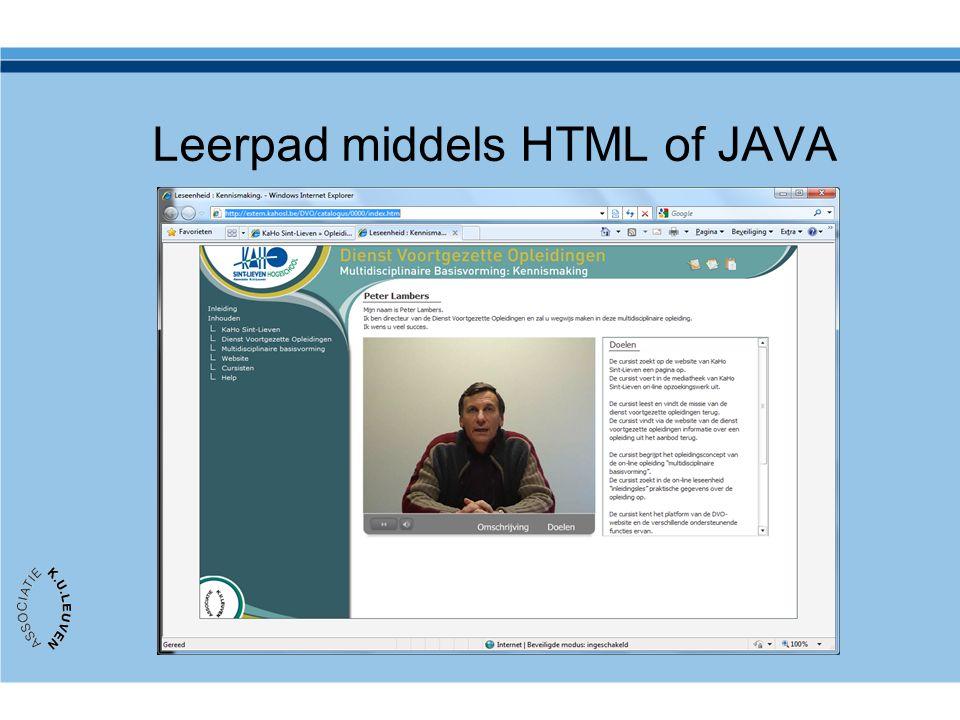 Leerpad middels HTML of JAVA