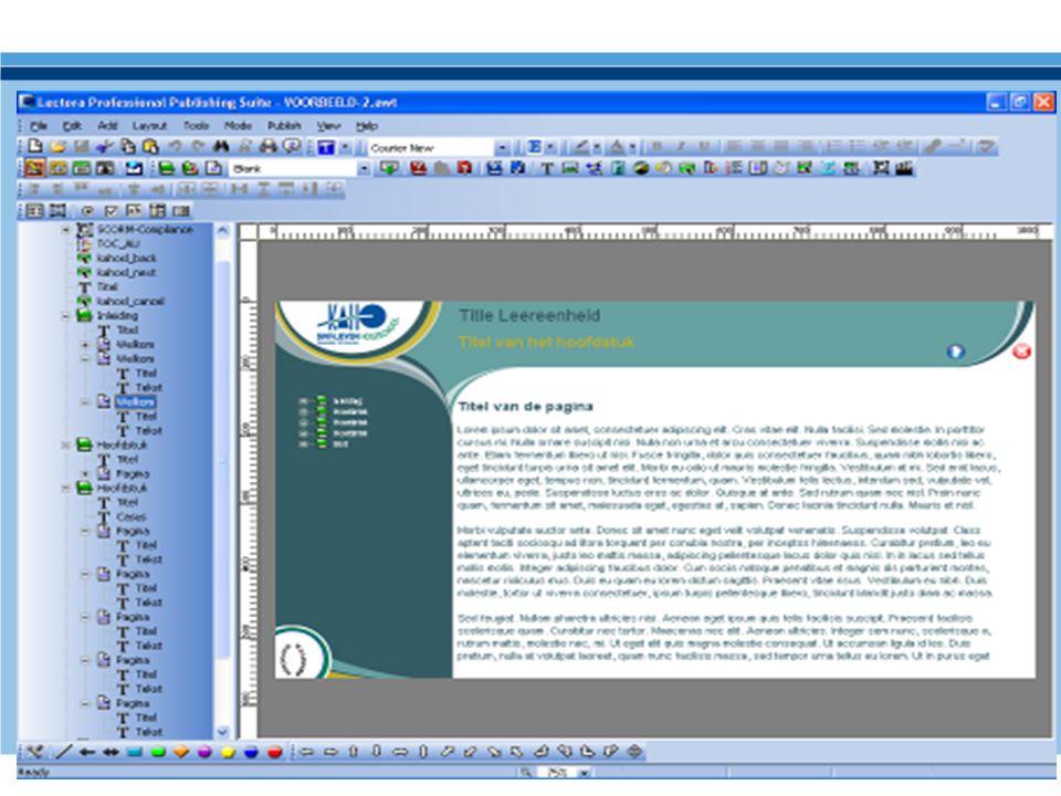 Dit is de layout van de multi-media software Lectora in de editing mode.