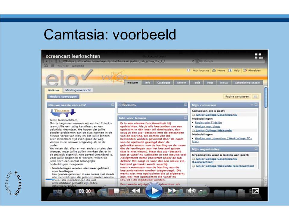 Camtasia: voorbeeld Op de community OOF 'webcolleges' vindt u dit voorbeeld geproduceerd met Camtasia door AVNET.