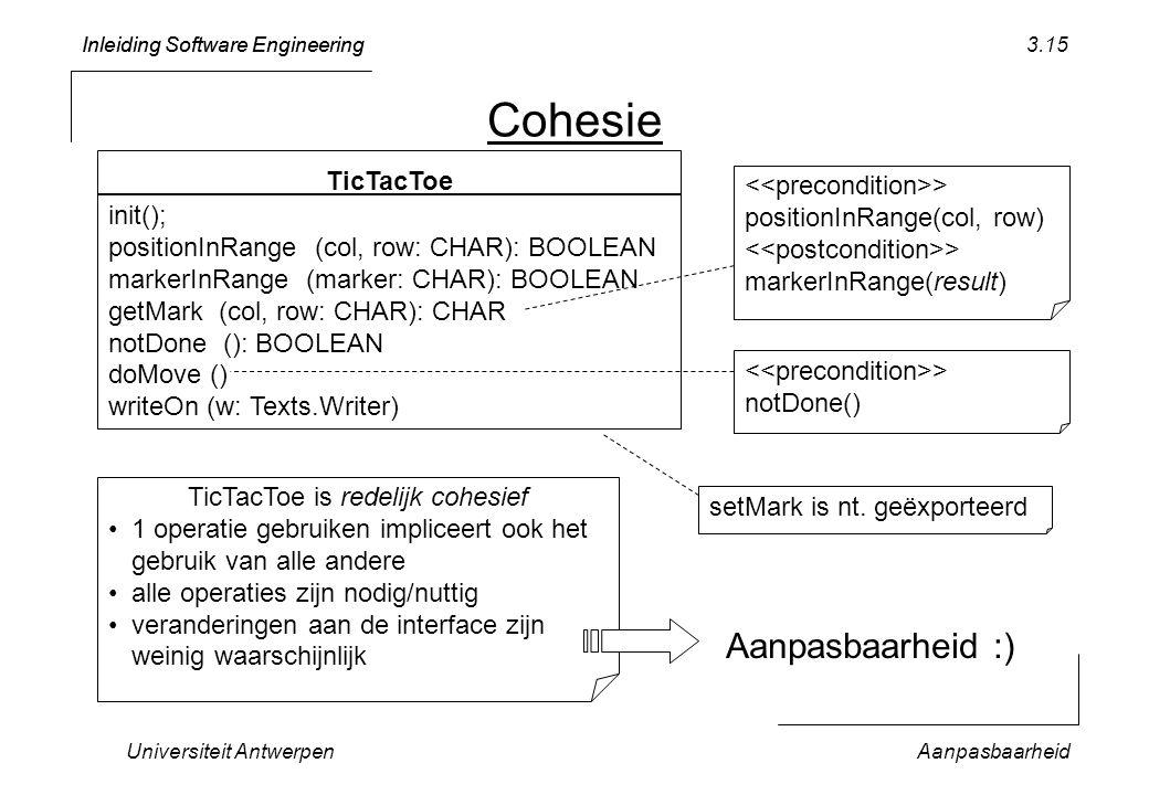 TicTacToe is redelijk cohesief