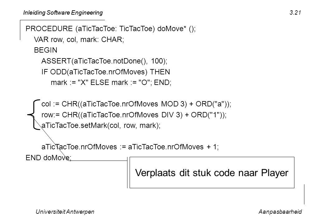 Verplaats dit stuk code naar Player