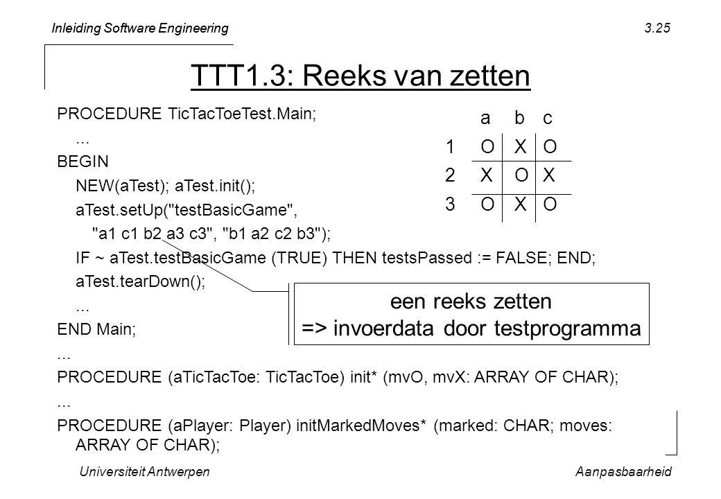 een reeks zetten => invoerdata door testprogramma